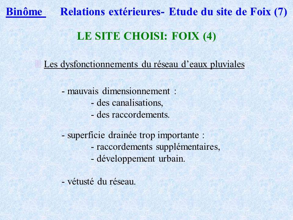 Binôme 1 Relations extérieures- Etude du site de Foix (6) LE SITE CHOISI (4) - ETUDE EN COURS A la demande de la ville de Foix, étude accordée à IRH -