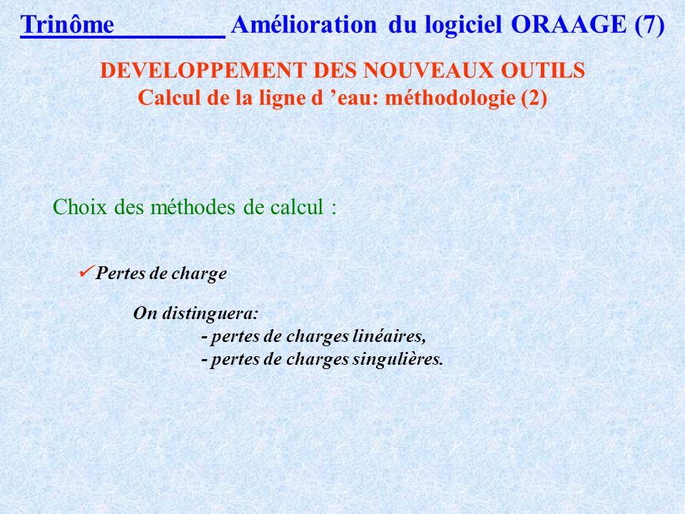 Trinôme Amélioration du logiciel ORAAGE (6) Remarques préliminaires : Ecoulement en charge ou à surface libre. En surface libre, lécoulement peut-être