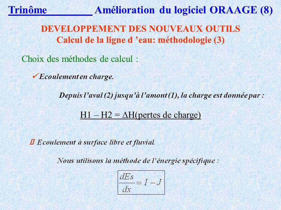 DEVELOPPEMENT DES NOUVEAUX OUTILS Calcul de la ligne d eau: méthodologie (2) Trinôme Amélioration du logiciel ORAAGE (7) Choix des méthodes de calcul