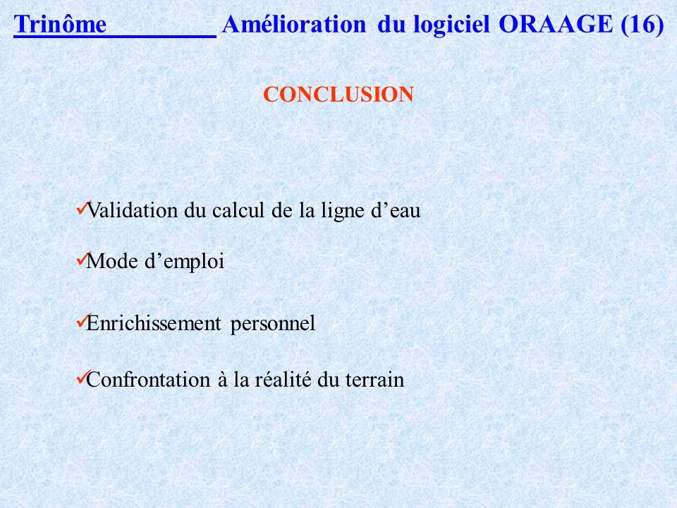 Trinôme Amélioration du logiciel ORAAGE (15) Calcul des débits ruisselés Choix des collecteurs Contraintes de dimensionnement Automatisation PERSPECTI