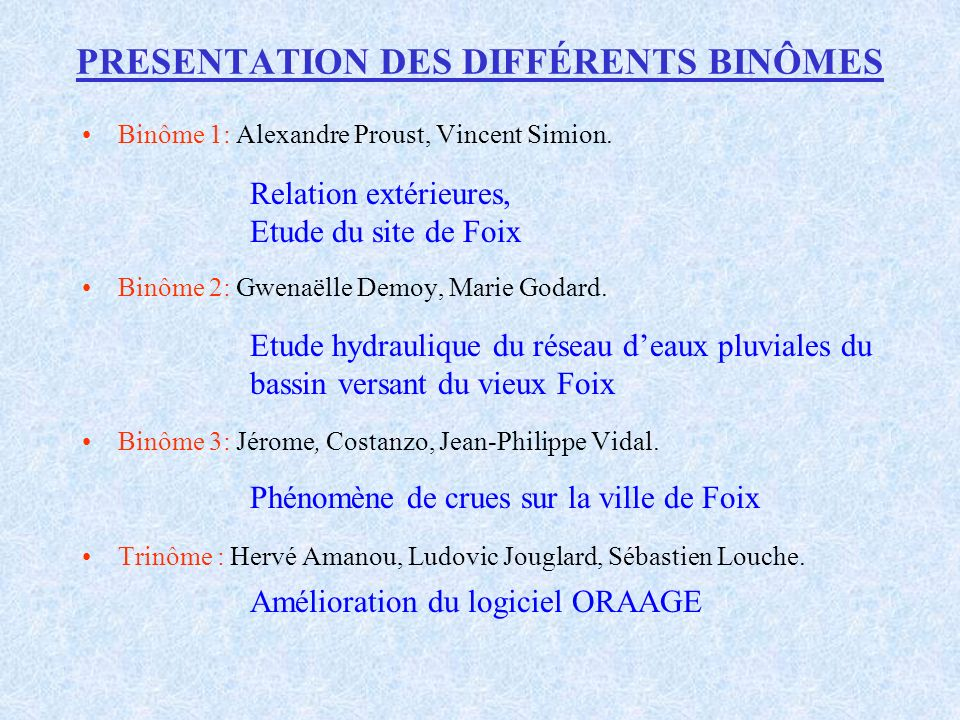 Binôme 3 Phénomène de crues sur la ville de Foix (5) Etude statistique (1) Deux types de données utilisées : Chronique des crues maximales annuelles Chronique des crues supérieures à la côte d alerte Seuil d alerte : 190 m 3 /s soit 1,50 m d eau à l échelle limnimétrique de la station de Foix