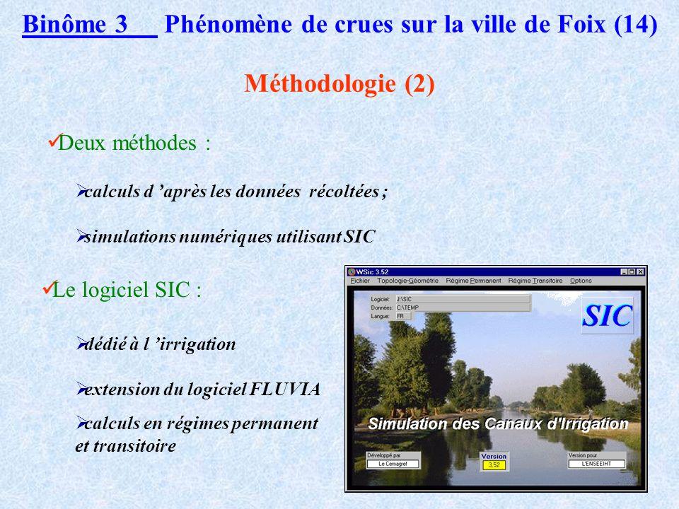 Binôme 3 Phénomène de crues sur la ville de Foix (13) Méthodologie (1) Crue d étude : celle du 7 au 9 novembre 1982 Méthode : reconstituer l hydrogram