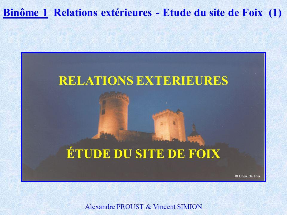 RELATIONS EXTERIEURES ÉTUDE DU SITE DE FOIX Binôme 1 Relations extérieures - Etude du site de Foix (1) © Chris de Foix Alexandre PROUST & Vincent SIMION