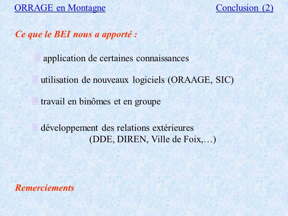 Ce que le BEI a apporté : ORRAGE en MontagneConclusion(1) à SCE : modification du logiciel ORAAGE à l ENSEEIHT : - acquisition d un nouveau logiciel,