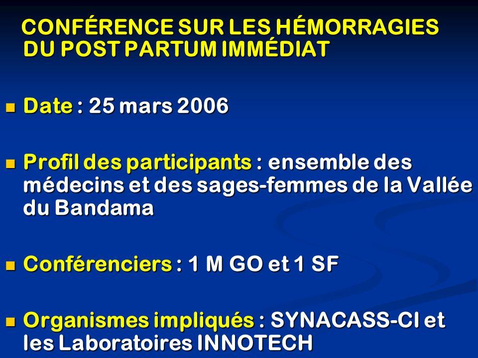 CONFÉRENCE SUR LES HÉMORRAGIES DU POST PARTUM IMMÉDIAT CONFÉRENCE SUR LES HÉMORRAGIES DU POST PARTUM IMMÉDIAT Date : 25 mars 2006 Date : 25 mars 2006
