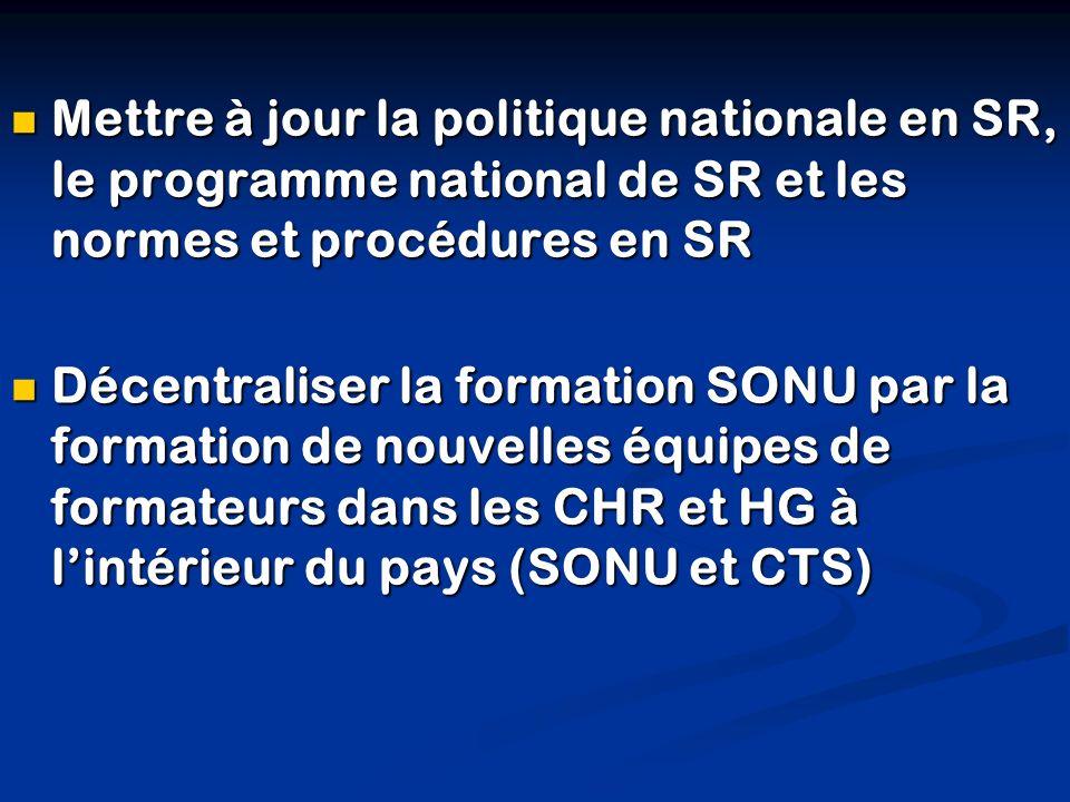 Mettre à jour la politique nationale en SR, le programme national de SR et les normes et procédures en SR Mettre à jour la politique nationale en SR,