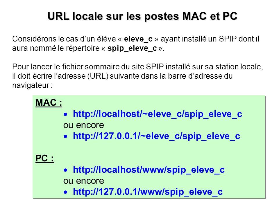 MAC : http://localhost/~eleve_c/spip_eleve_c ou encore http://127.0.0.1/~eleve_c/spip_eleve_c PC : http://localhost/www/spip_eleve_c ou encore http://