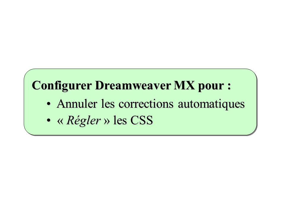 Annuler les corrections automatiques Annuler les corrections automatiques « Régler » les CSS « Régler » les CSS Configurer Dreamweaver MX pour :