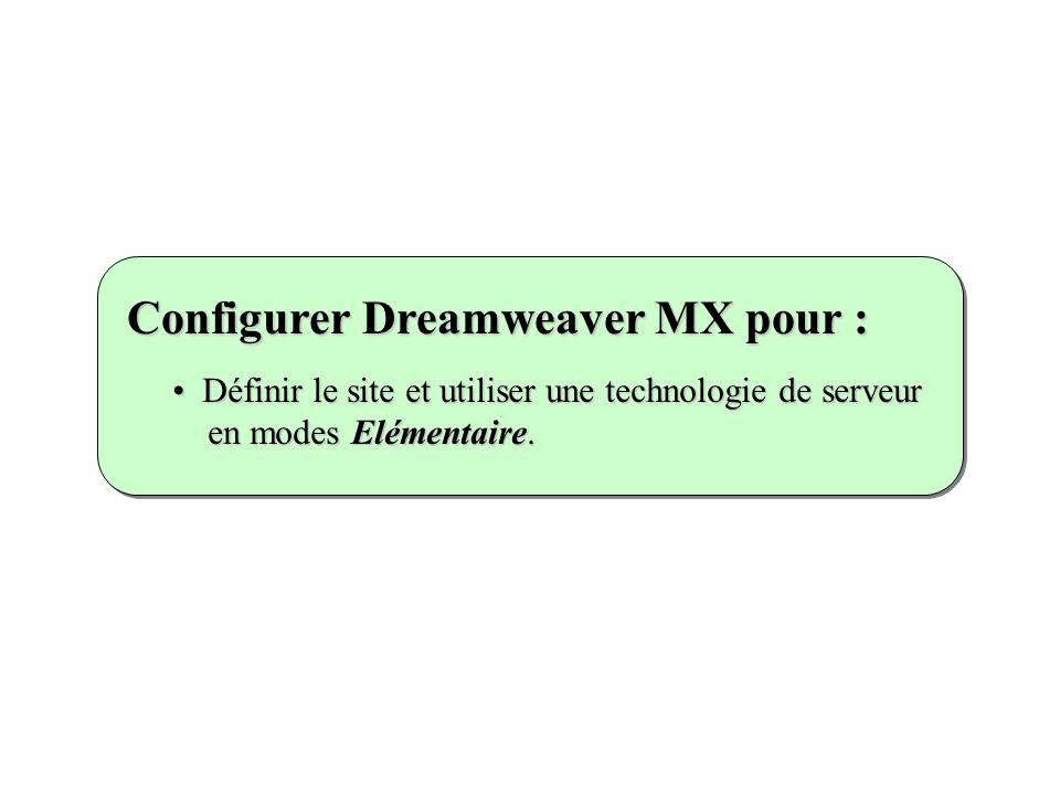 Définir le site et utiliser une technologie de serveur en modes Elémentaire. Définir le site et utiliser une technologie de serveur en modes Elémentai