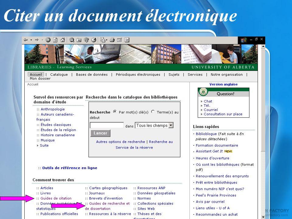 Citer un document électronique