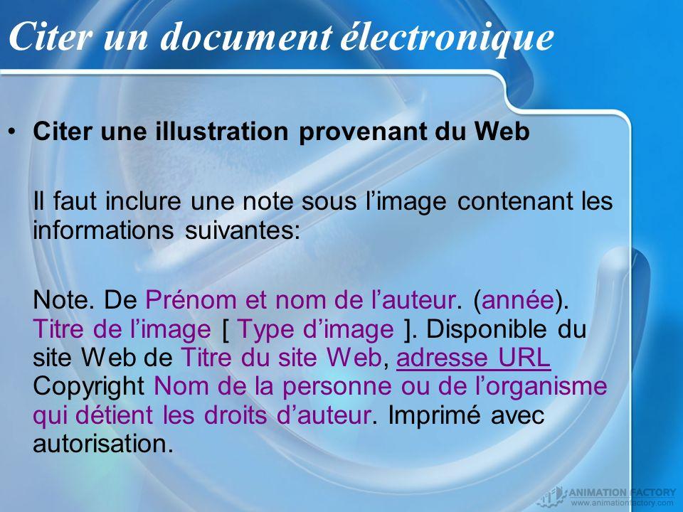 Citer un document électronique Citer une illustration provenant du Web Il faut inclure une note sous limage contenant les informations suivantes: Note