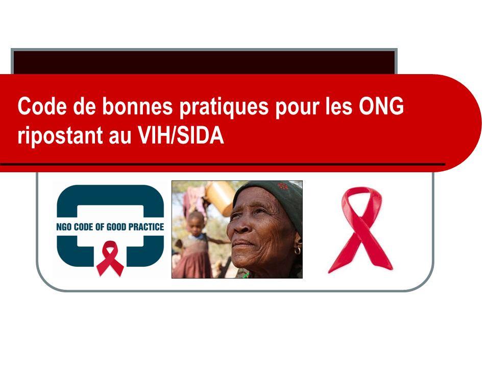 Code de bonnes pratiques pour les ONG ripostant au VIH/SIDA