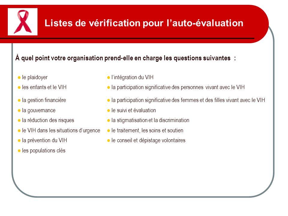 Listes de vérification pour lauto-évaluation À quel point votre organisation prend-elle en charge les questions suivantes : le plaidoyer lintégration