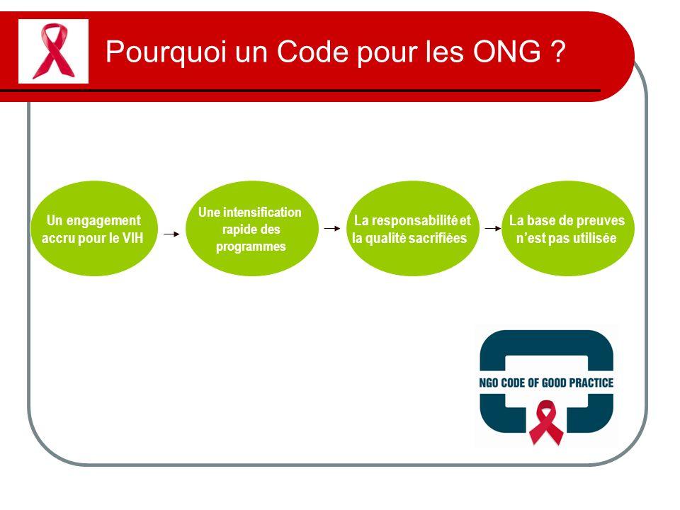 Pourquoi un Code pour les ONG ? Un engagement accru pour le VIH Une intensification rapide des programmes La responsabilité et la qualité sacrifiées L