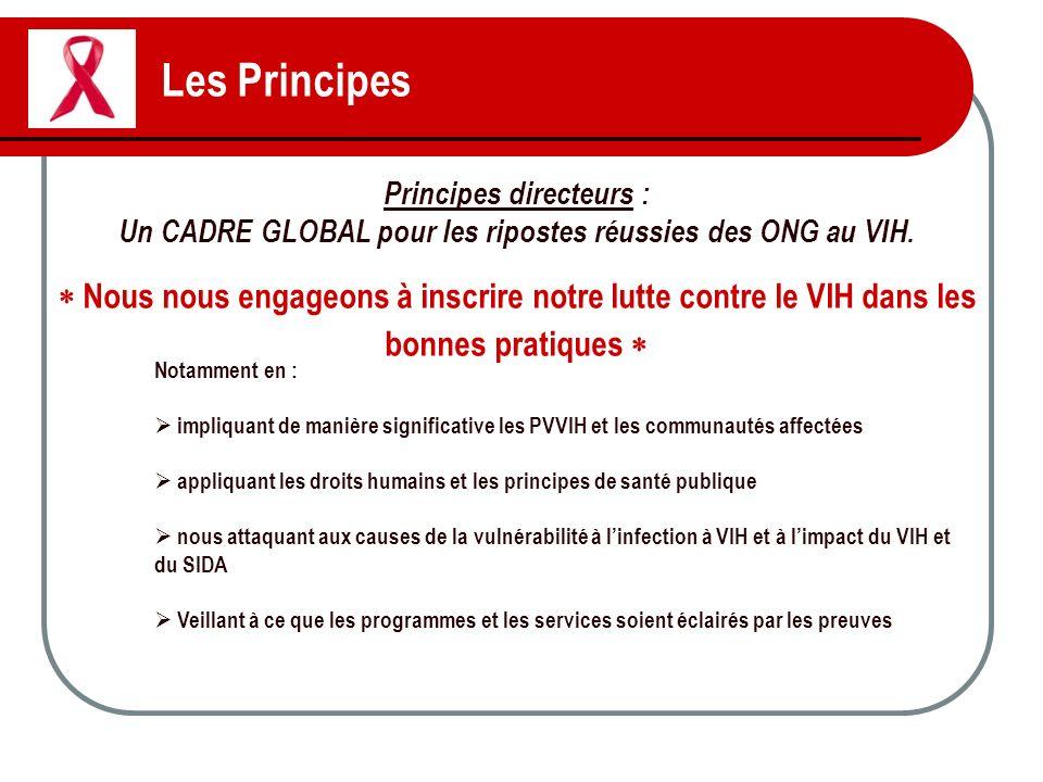 Les Principes Principes directeurs : Un CADRE GLOBAL pour les ripostes réussies des ONG au VIH. Nous nous engageons à inscrire notre lutte contre le V
