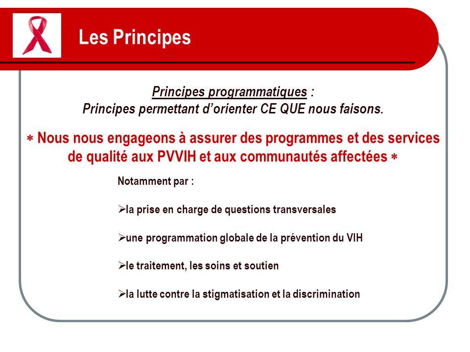 Les Principes Principes programmatiques : Principes permettant dorienter CE QUE nous faisons. Nous nous engageons à assurer des programmes et des serv