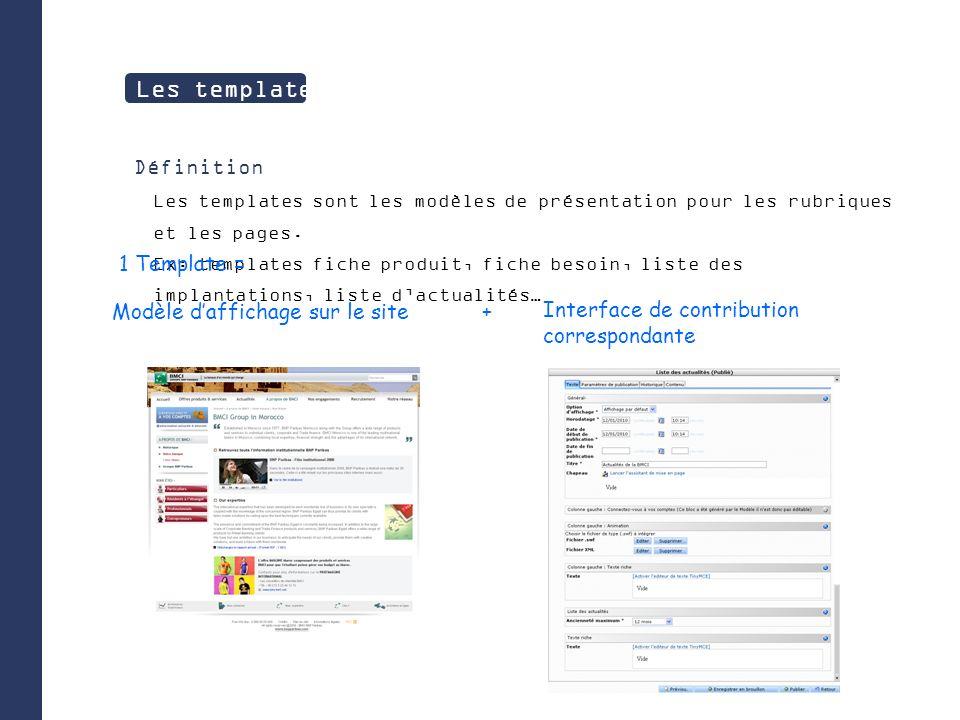 Définition Les templates sont les modèles de présentation pour les rubriques et les pages.