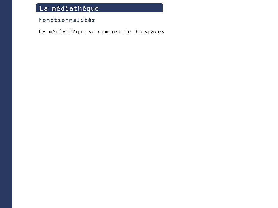 La médiathèque Fonctionnalités La médiathèque se compose de 3 espaces :