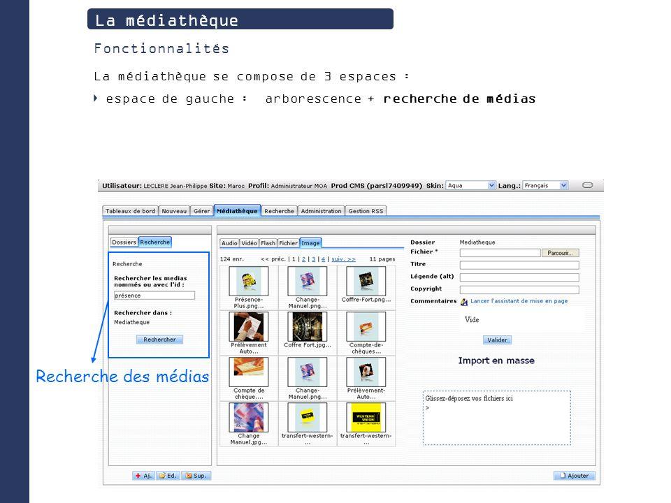 Recherche des médias La médiathèque Fonctionnalités La médiathèque se compose de 3 espaces : espace de gauche : arborescence + recherche de médias