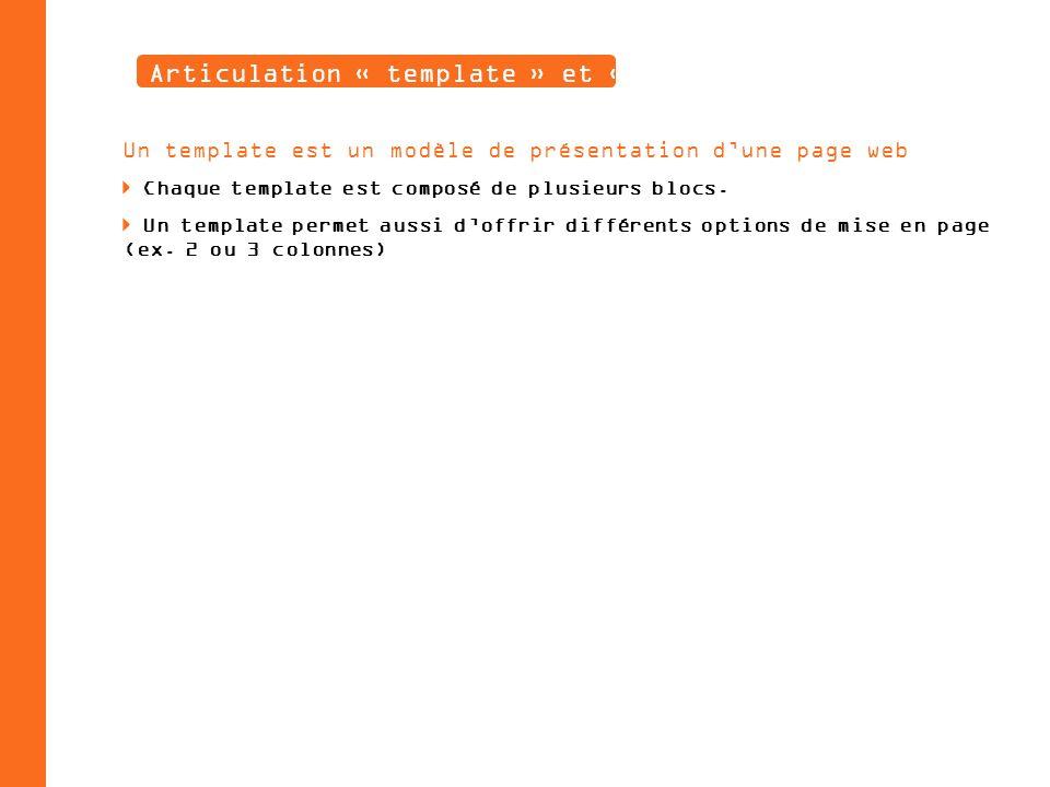 Articulation « template » et « blocs » Un template est un modèle de présentation dune page web Chaque template est composé de plusieurs blocs.