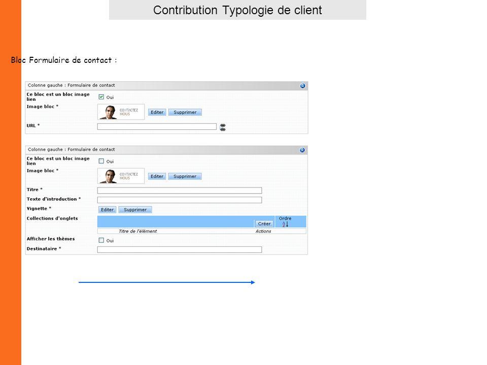 Contribution Typologie de client Bloc Formulaire de contact :