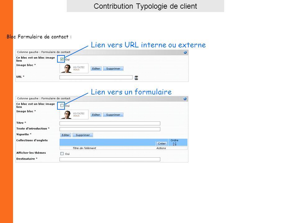 Contribution Typologie de client Bloc Formulaire de contact : Lien vers URL interne ou externe Lien vers un formulaire