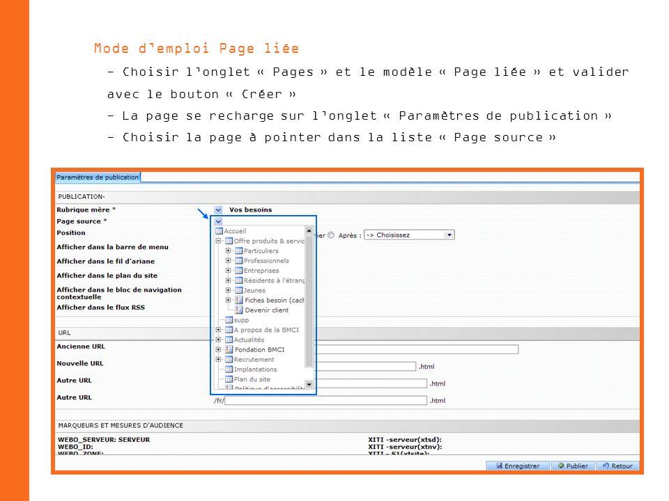 Mode demploi Page liée - Choisir longlet « Pages » et le modèle « Page liée » et valider avec le bouton « Créer » - La page se recharge sur longlet « Paramètres de publication » - Choisir la page à pointer dans la liste « Page source »