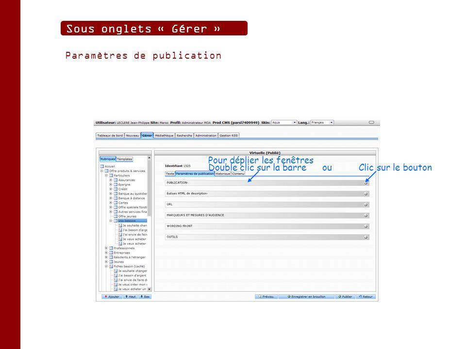 Paramètres de publication Sous onglets « Gérer » Double clic sur la barre ouClic sur le bouton Pour déplier les fenêtres