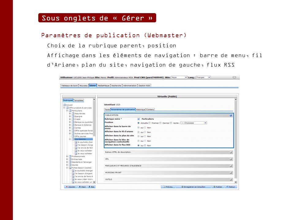 Paramètres de publication (Webmaster) Choix de la rubrique parent, position Affichage dans les éléments de navigation : barre de menu, fil dAriane, plan du site, navigation de gauche, flux RSS Sous onglets de « Gérer »