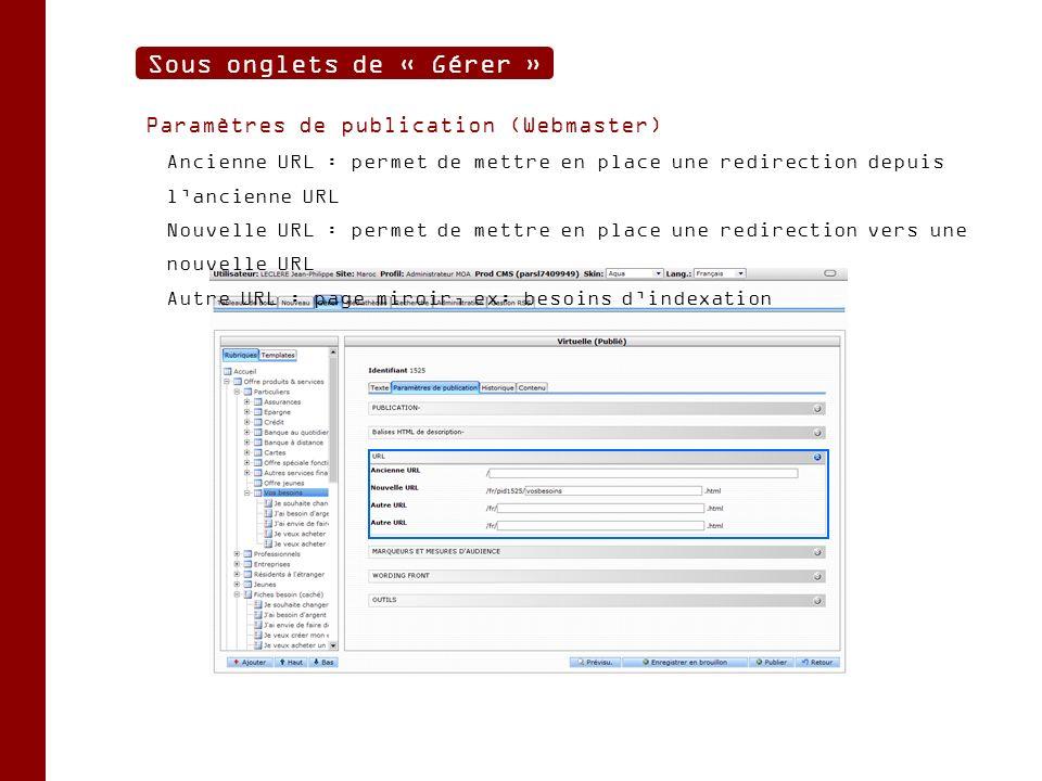 Paramètres de publication (Webmaster) Ancienne URL : permet de mettre en place une redirection depuis lancienne URL Nouvelle URL : permet de mettre en place une redirection vers une nouvelle URL Autre URL : page miroir, ex: besoins dindexation Sous onglets de « Gérer »