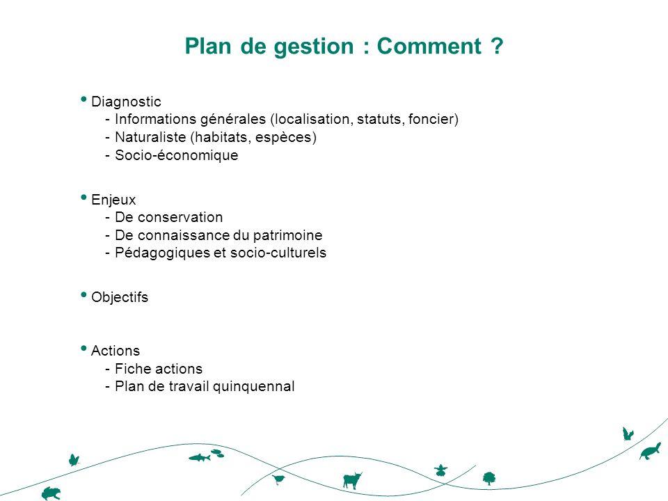 Plan de gestion : Comment ? Diagnostic -Informations générales (localisation, statuts, foncier) -Naturaliste (habitats, espèces) -Socio-économique Enj