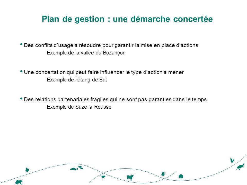 Plan de gestion : une démarche concertée Des conflits dusage à résoudre pour garantir la mise en place dactions Exemple de la vallée du Bozançon Une c
