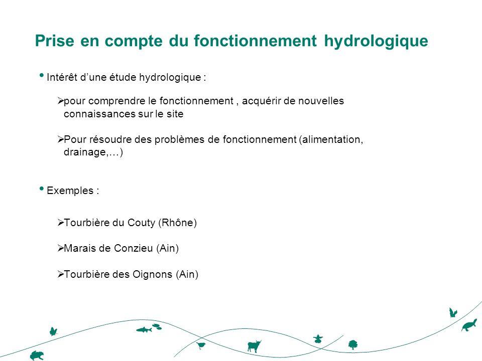 Prise en compte du fonctionnement hydrologique Intérêt dune étude hydrologique : pour comprendre le fonctionnement, acquérir de nouvelles connaissances sur le site Pour résoudre des problèmes de fonctionnement (alimentation, drainage,…) Exemples : Tourbière du Couty (Rhône) Marais de Conzieu (Ain) Tourbière des Oignons (Ain)