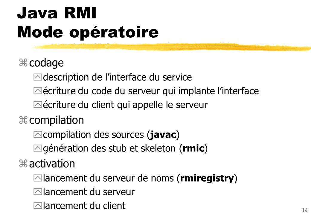 14 Java RMI Mode opératoire zcodage ydescription de linterface du service yécriture du code du serveur qui implante linterface yécriture du client qui