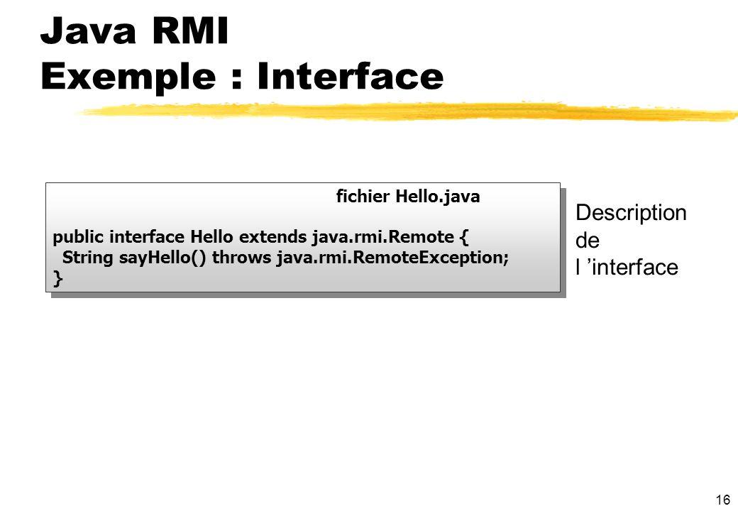 16 fichier Hello.java public interface Hello extends java.rmi.Remote { String sayHello() throws java.rmi.RemoteException; } fichier Hello.java public
