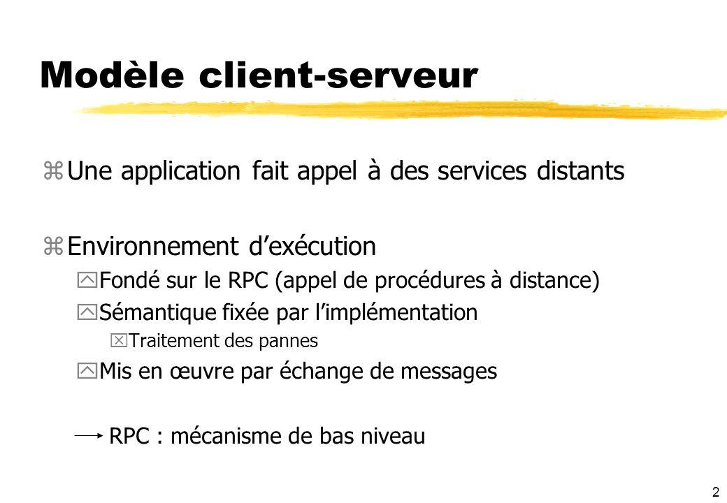 2 Modèle client-serveur zUne application fait appel à des services distants zEnvironnement dexécution yFondé sur le RPC (appel de procédures à distanc