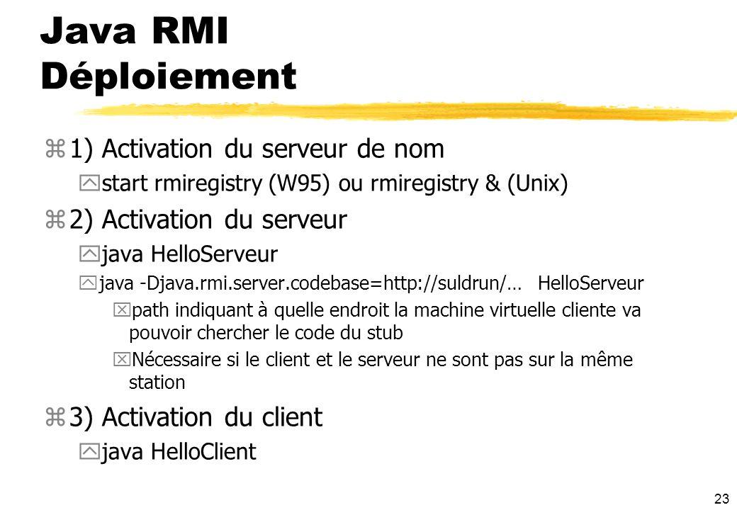 23 Java RMI Déploiement z1) Activation du serveur de nom ystart rmiregistry (W95) ou rmiregistry & (Unix) z2) Activation du serveur yjava HelloServeur