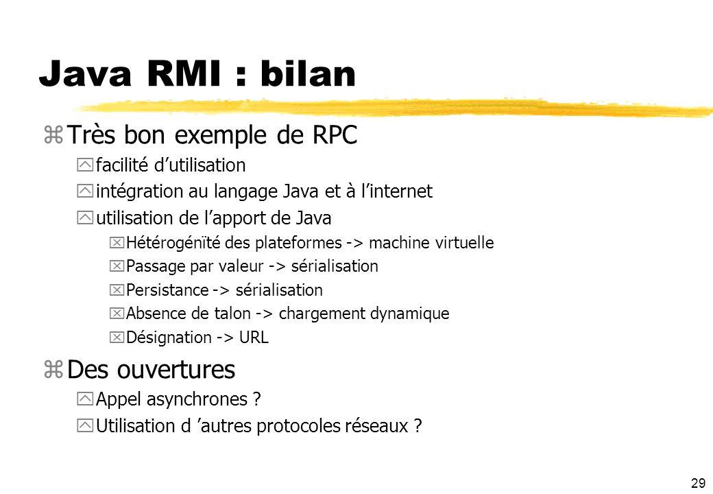 29 Java RMI : bilan zTrès bon exemple de RPC yfacilité dutilisation yintégration au langage Java et à linternet yutilisation de lapport de Java xHétér