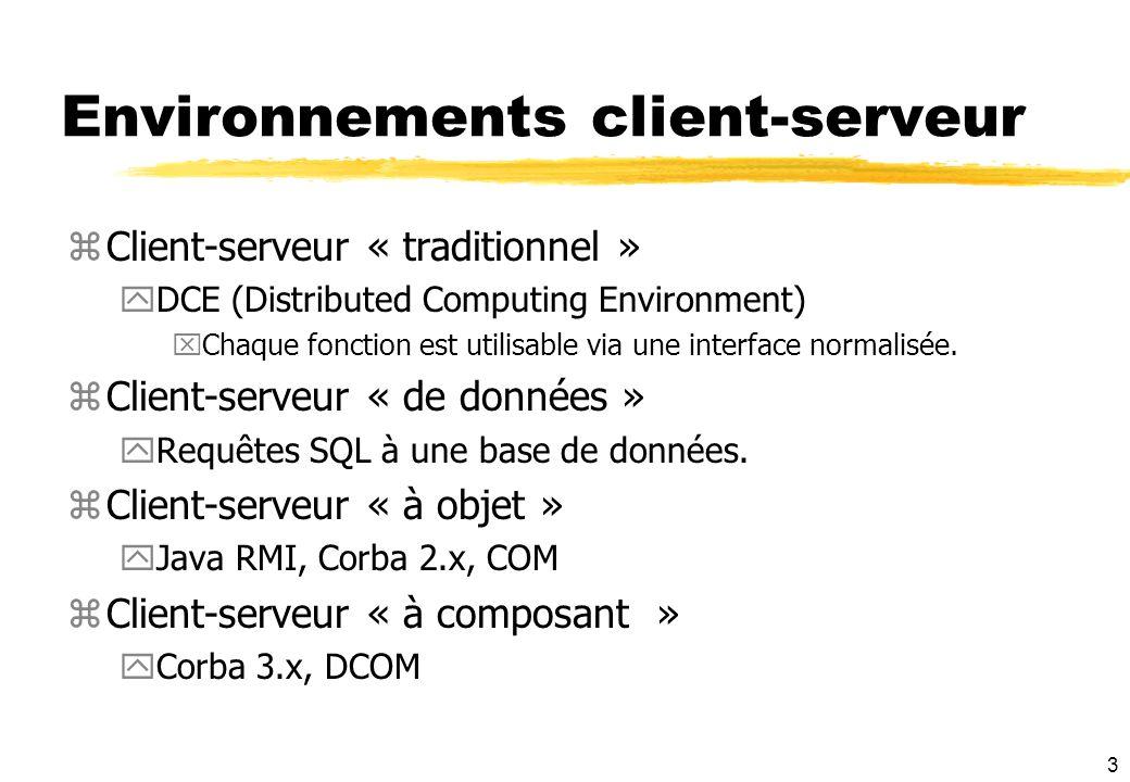 3 Environnements client-serveur zClient-serveur « traditionnel » yDCE (Distributed Computing Environment) xChaque fonction est utilisable via une inte