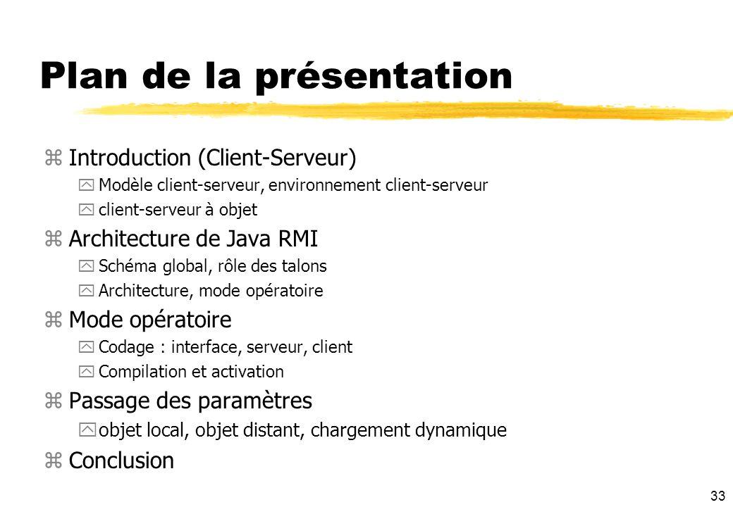 33 Plan de la présentation zIntroduction (Client-Serveur) yModèle client-serveur, environnement client-serveur yclient-serveur à objet zArchitecture d