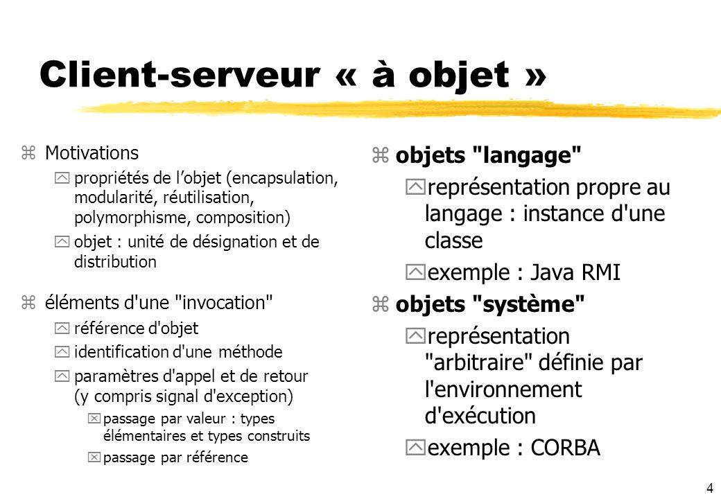 4 Client-serveur « à objet » zMotivations ypropriétés de lobjet (encapsulation, modularité, réutilisation, polymorphisme, composition) yobjet : unité