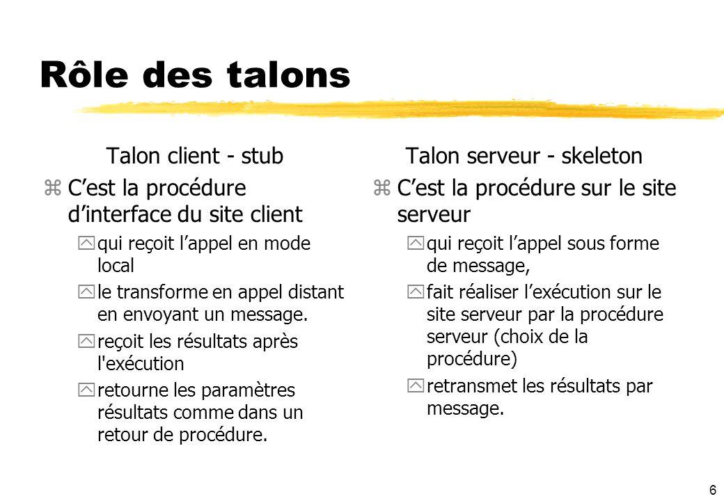 6 Rôle des talons Talon client - stub zCest la procédure dinterface du site client yqui reçoit lappel en mode local yle transforme en appel distant en