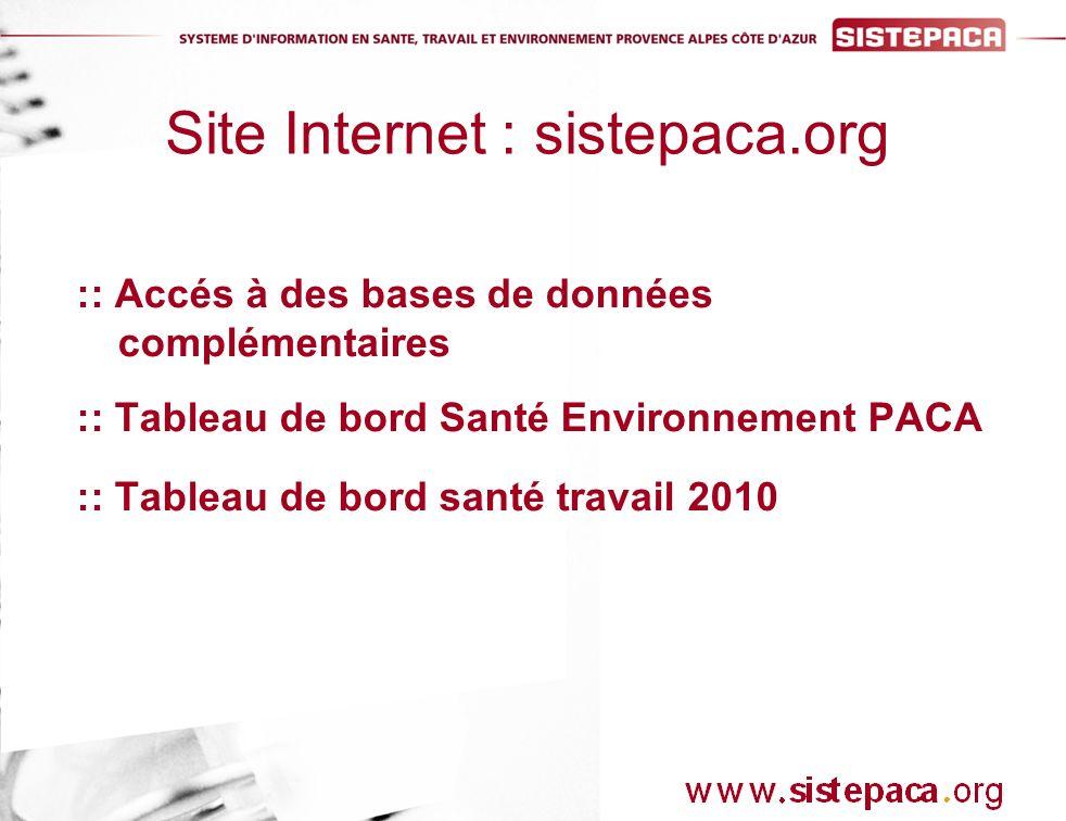 :: Accés à des bases de données complémentaires :: Tableau de bord Santé Environnement PACA :: Tableau de bord santé travail 2010 Site Internet : sistepaca.org