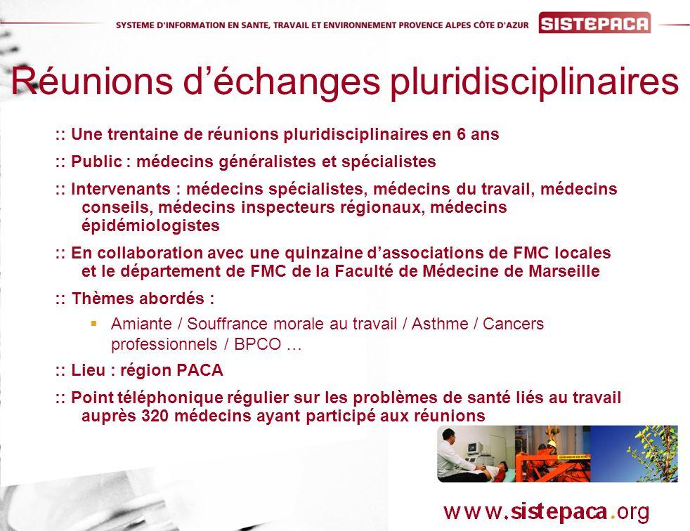 :: Une trentaine de réunions pluridisciplinaires en 6 ans :: Public : médecins généralistes et spécialistes :: Intervenants : médecins spécialistes, médecins du travail, médecins conseils, médecins inspecteurs régionaux, médecins épidémiologistes :: En collaboration avec une quinzaine dassociations de FMC locales et le département de FMC de la Faculté de Médecine de Marseille :: Thèmes abordés : Amiante / Souffrance morale au travail / Asthme / Cancers professionnels / BPCO … :: Lieu : région PACA :: Point téléphonique régulier sur les problèmes de santé liés au travail auprès 320 médecins ayant participé aux réunions Réunions déchanges pluridisciplinaires