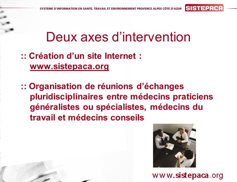 :: Création dun site Internet : www.sistepaca.org :: Organisation de réunions déchanges pluridisciplinaires entre médecins praticiens généralistes ou spécialistes, médecins du travail et médecins conseils Deux axes dintervention