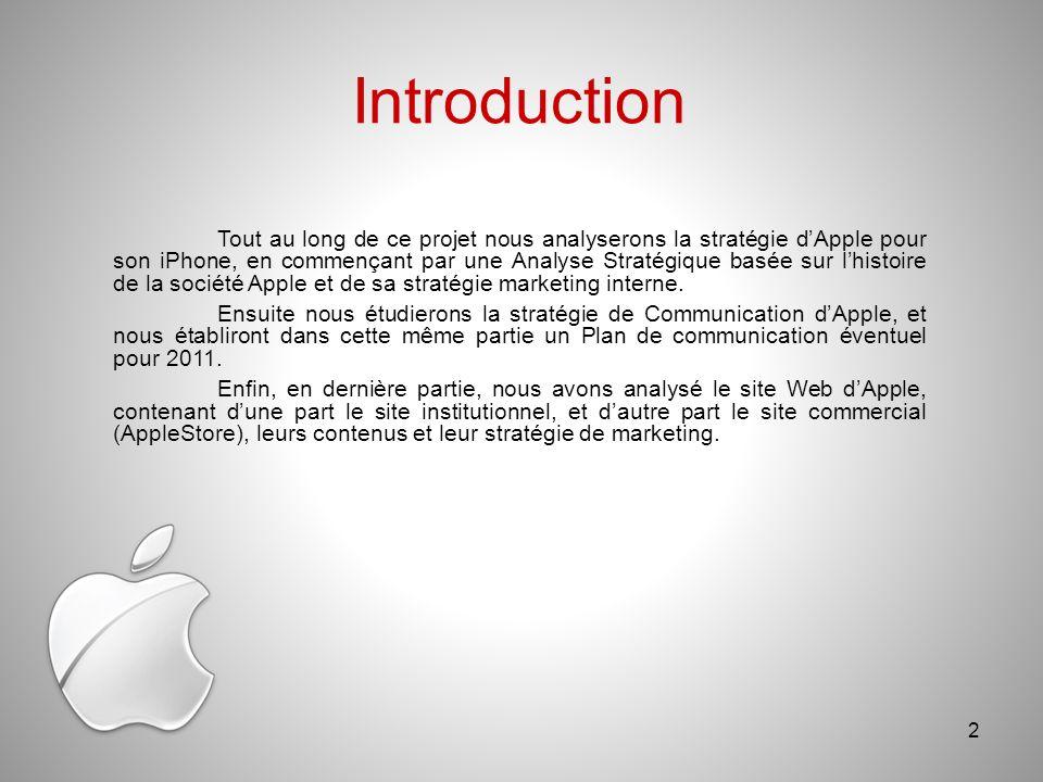 Introduction Tout au long de ce projet nous analyserons la stratégie dApple pour son iPhone, en commençant par une Analyse Stratégique basée sur lhistoire de la société Apple et de sa stratégie marketing interne.
