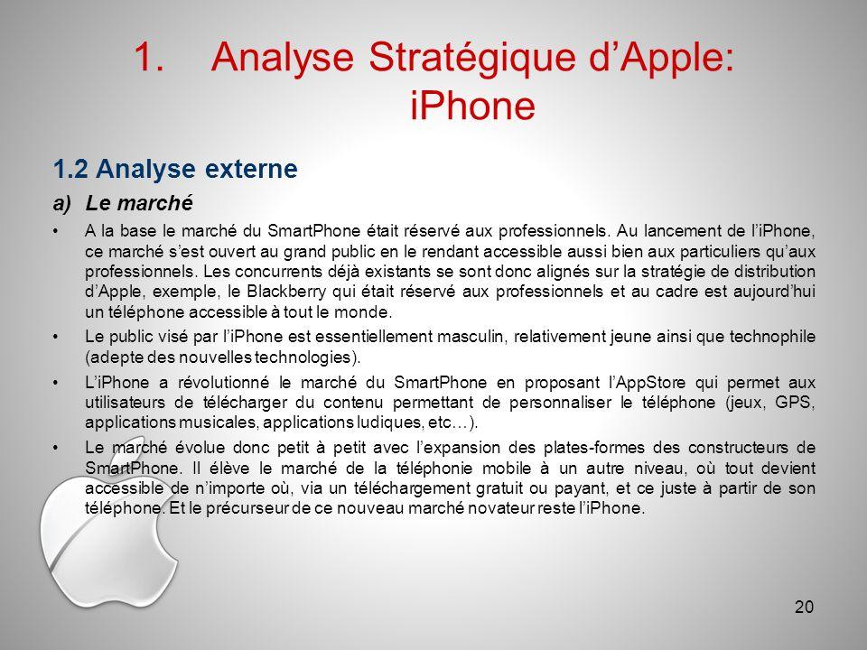 1.Analyse Stratégique dApple: iPhone 1.2 Analyse externe a)Le marché A la base le marché du SmartPhone était réservé aux professionnels.