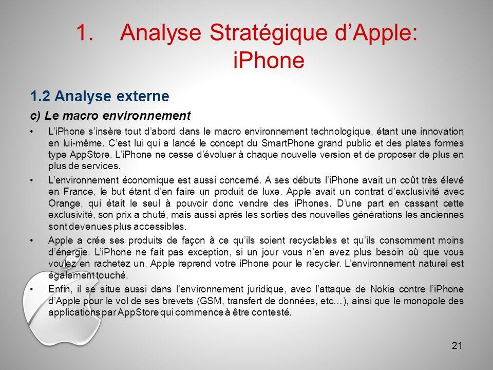 1.Analyse Stratégique dApple: iPhone 1.2 Analyse externe c) Le macro environnement LiPhone sinsère tout dabord dans le macro environnement technologique, étant une innovation en lui-même.