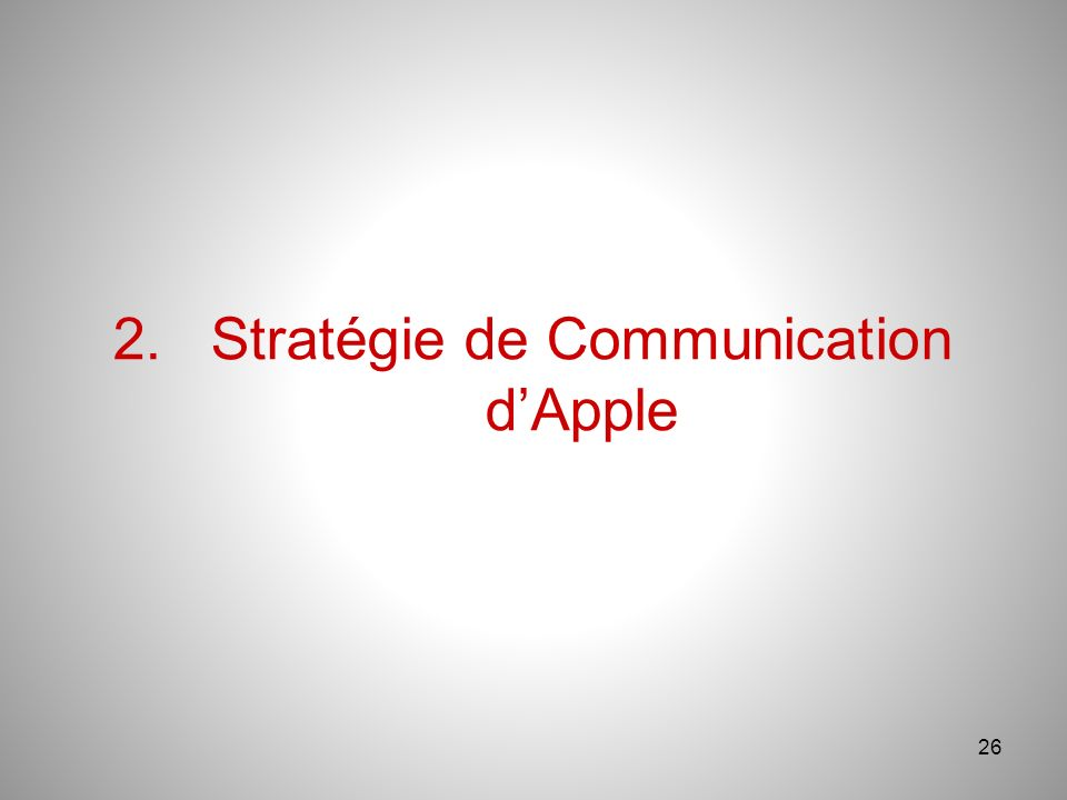26 2.Stratégie de Communication dApple