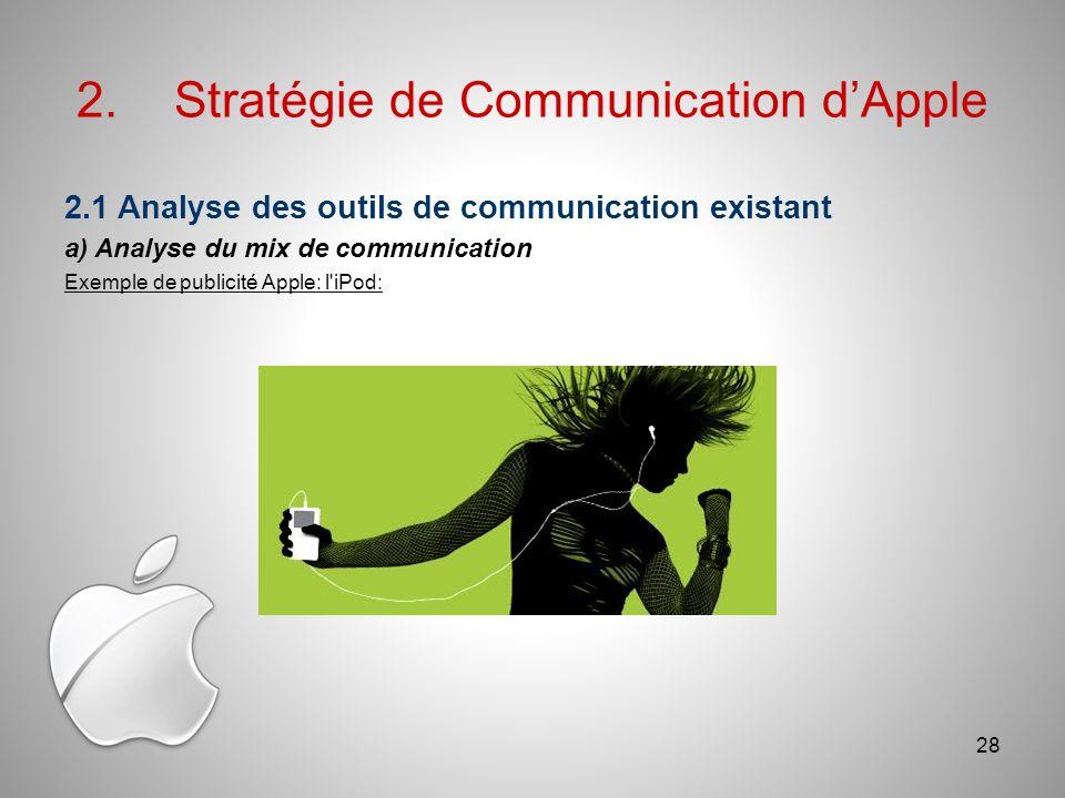 2.Stratégie de Communication dApple 2.1 Analyse des outils de communication existant a) Analyse du mix de communication Exemple de publicité Apple: l iPod: 28
